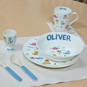 Personalised Child's Dinosaur Breakfast Set