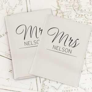 Personalised Classic Mr & Mrs Cream Passport Set