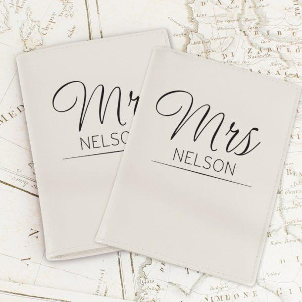 Personalised Classic Mr & Mrs Cream Passport Set