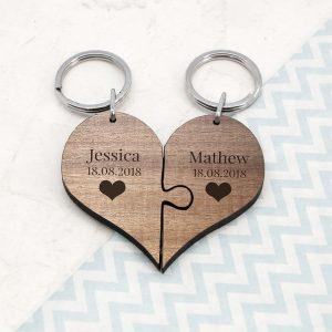 Personalised Couples Heart Keyring Set