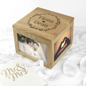 Personalised Couples Oak Photo Cube & Keepsake Box