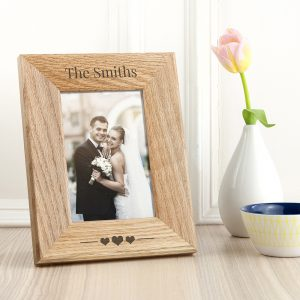 Personalised Couples Oak Photo Frame