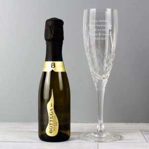 Personalised Crystal Flute & Miniature Prosecco Set