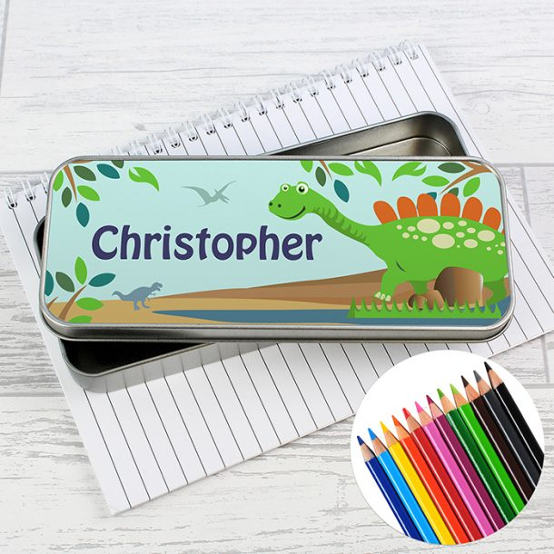 Personalised Dinosaur Pencil Tin & Pencil Crayons