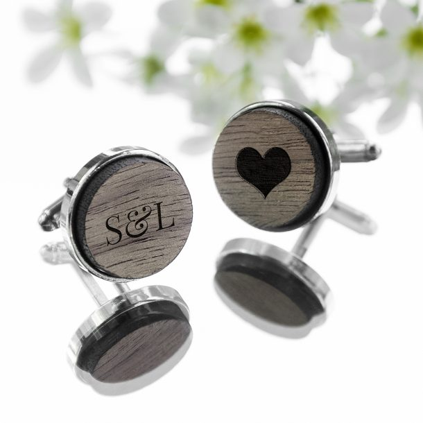 Personalised Engraved Round Walnut Cufflinks – Exclusive Love Heart