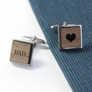 Personalised Engraved Square Walnut Cufflinks – Exclusive Love Heart