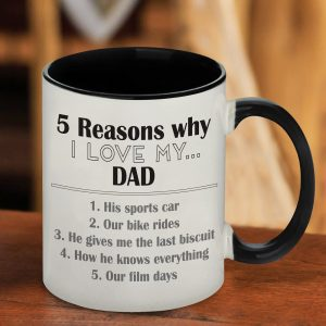 Personalised Five Reasons Why Black Mug