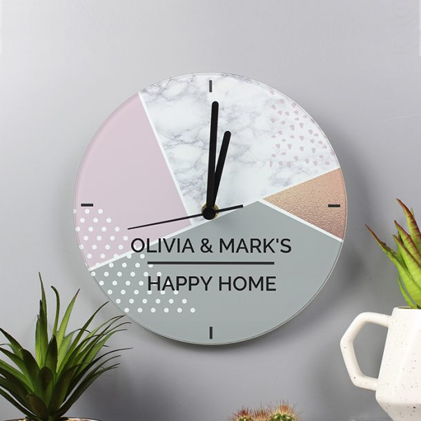 Personalised Geometric Glass Clock