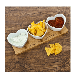 Personalised Heart Bowls & Bamboo Serving Board