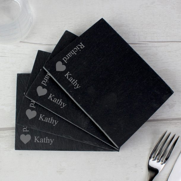 Personalised Heart Motif Pack of 4 Slate Coasters