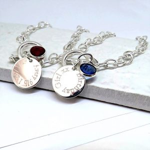 Personalised Ladies Birthstone Link Bracelet