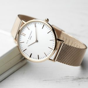 Personalised Ladies Rose Gold Mesh Watch With White Dial