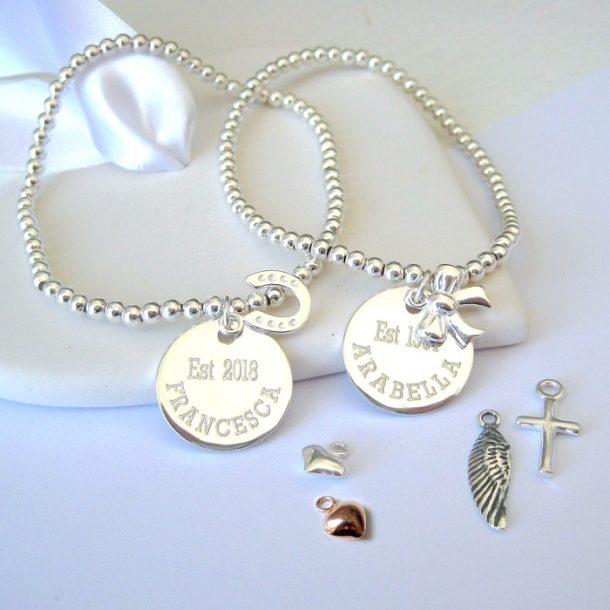 Personalised Ladies Stacking Ball Bracelet