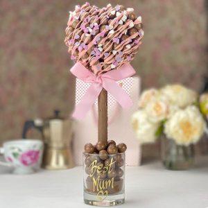 Personalised Malteser Heart Pink Drizzle & Heart Sprinkle Sweet Trees