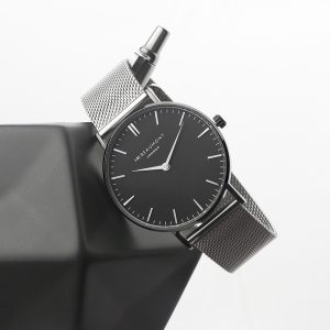 Personalised Men's Metallic Silver Watch With Black Face