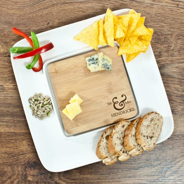 Personalised Mr & Mrs Bamboo Ceramic Serving Platter
