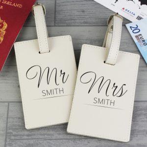 Personalised Mr & Mrs Cream Luggage Tags