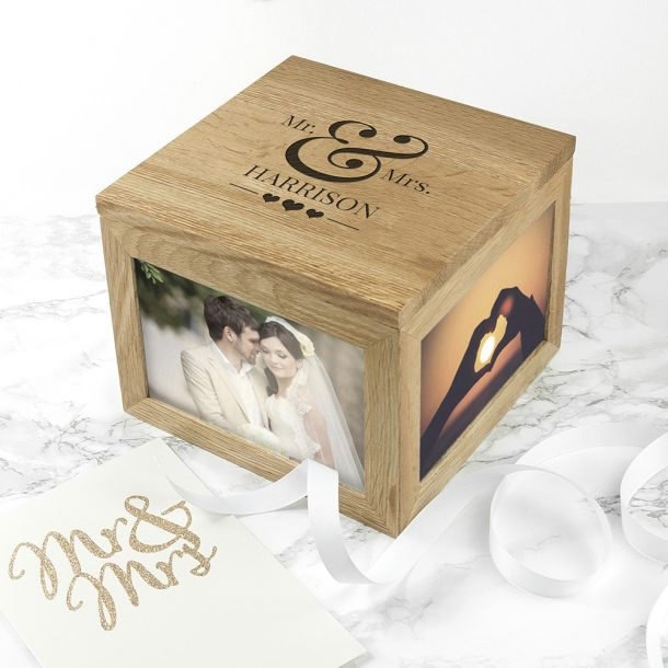 Personalised Mr & Mrs Oak Photo Cube & Keepsake Box