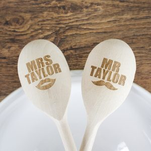 Personalised Mr & Mrs Wooden Spoons