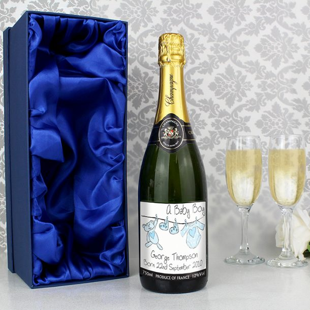 Personalised New Baby Boy Champagne & Gift Box