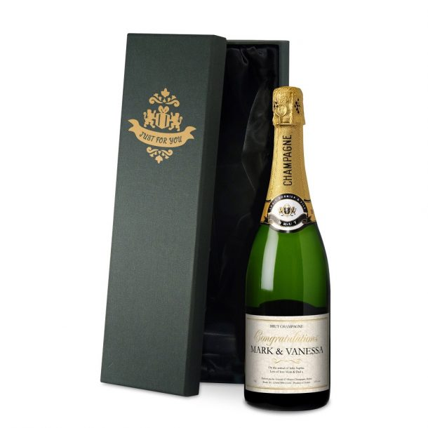 Personalised New Baby Champagne & Silk Lined Gift Box