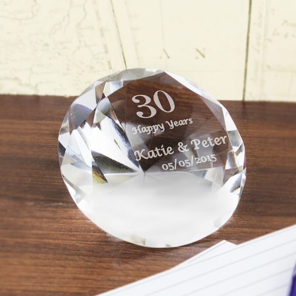 Personalised Numbers Diamond Paper Weight