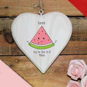Personalised One In A Melon Hanging Heart