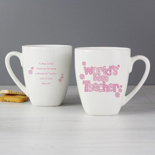 Personalised Pink World's Best Teacher Mug