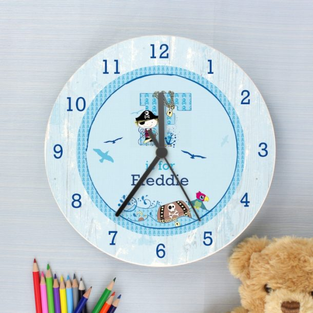 Personalised Pirate Large Wooden Clock