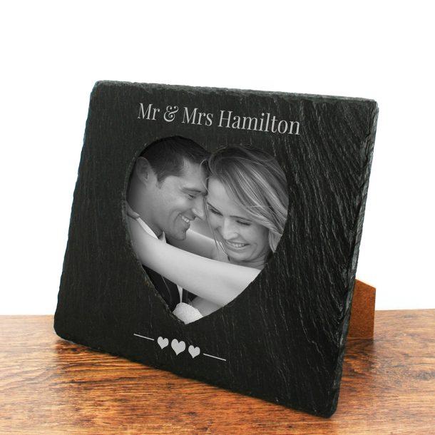 Personalised Romantic Slate Photo Frame