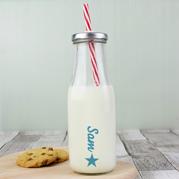 Personalised Star Motif Milk Bottle
