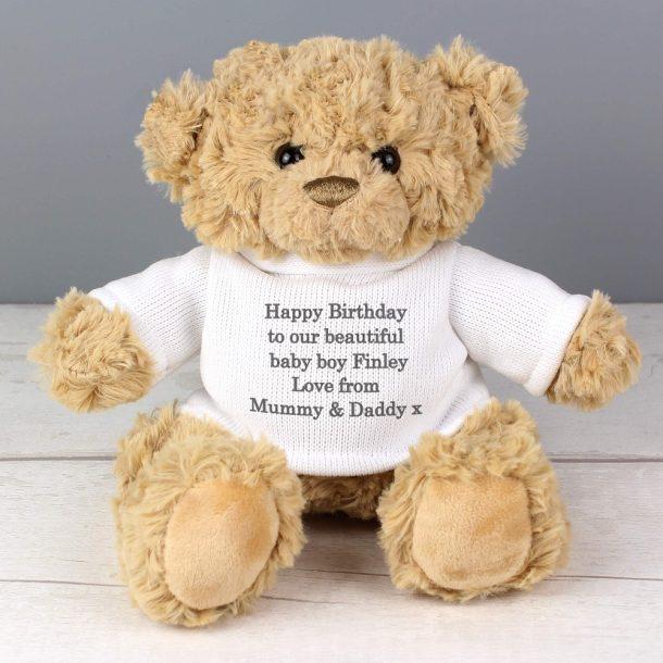 Personalised Teddy Bear & Jumper - Grey