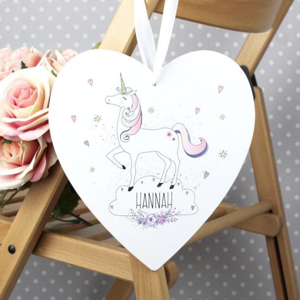 Personalised Unicorn 22cm Large Wooden Heart Decoration