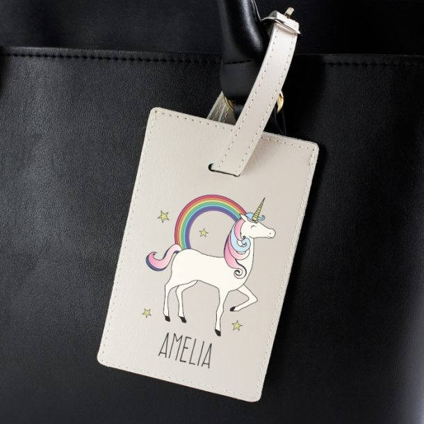 Personalised Unicorn Cream Luggage Tag