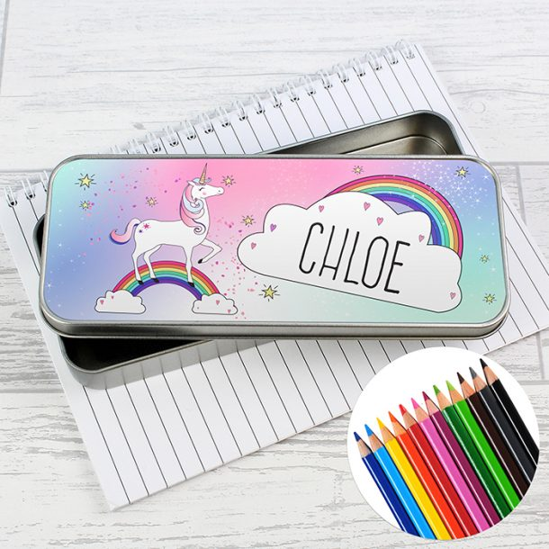 Personalised Unicorn Pencil Tin & Pencil Crayons