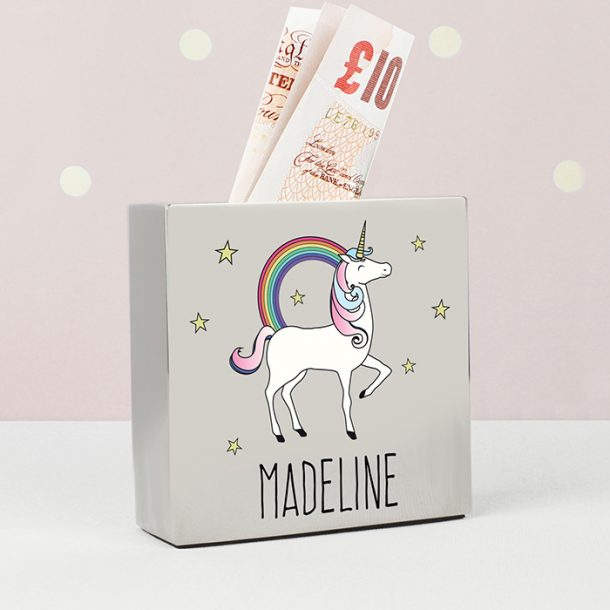 Personalised Unicorn Square Money Box
