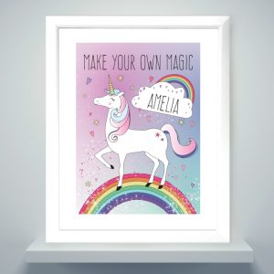 Personalised Unicorn White Framed Poster Print