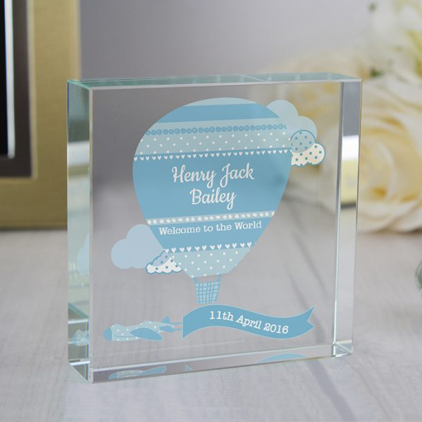 Personalised Up & Away Baby Boy Large Crystal Token