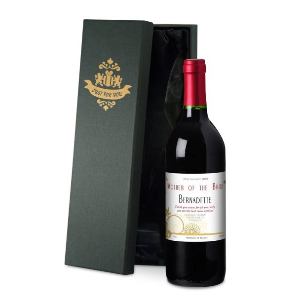Personalised Wedding Flowers Red Wine & Silk Lined Gift Box