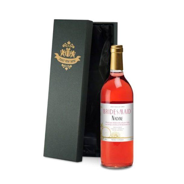 Personalised Wedding Flowers Rosé Wine & Silk Gift Box