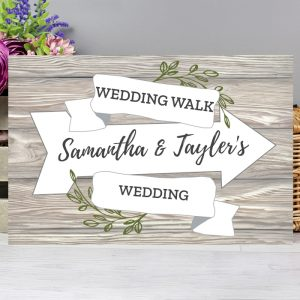 Personalised White Arrow Banner Metal Sign