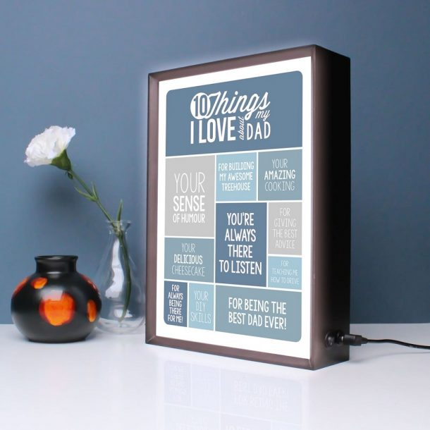Personalised 10 Things I Love About My Dad Light Box