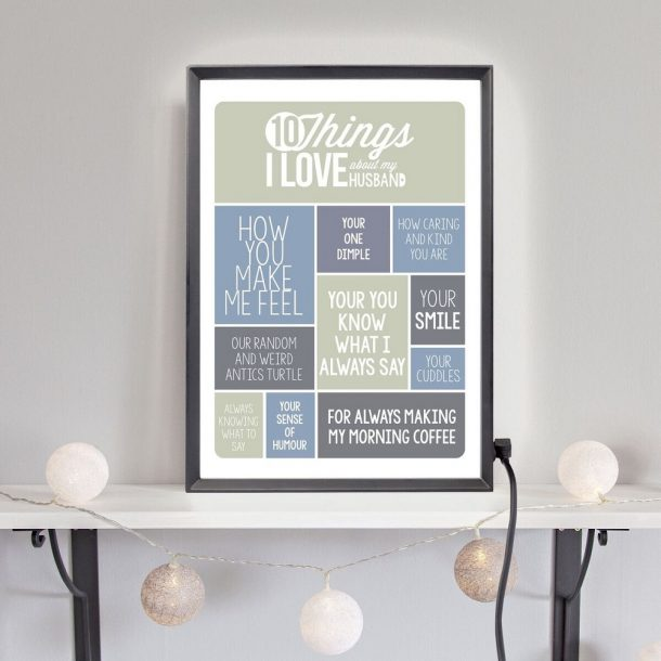Personalised 10 Things I Love About My Husband Light Box