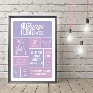 Personalised 10 Things I Love About My Wife Light Box
