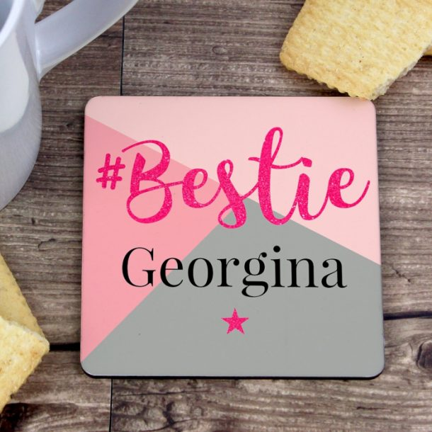 Personalised #Bestie Coaster