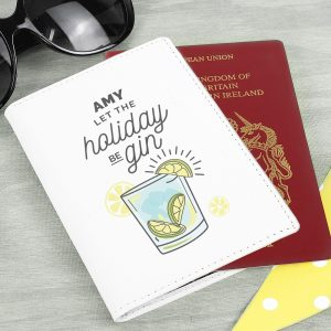 Personalised Cream Leather Let The Holiday Be-Gin Passport Holder