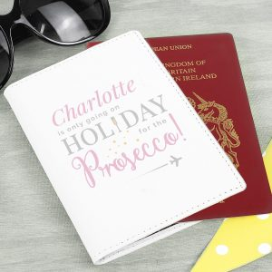 Personalised Cream Leather Prosecco Passport Holder