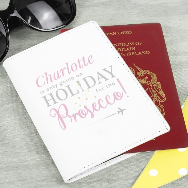 Personalised Cream Leather Prosecco Passport Holder