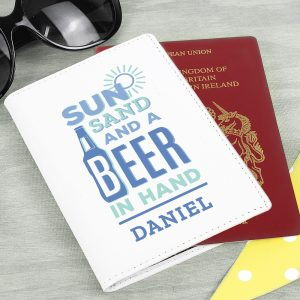 Personalised Cream Leather Sun Sand & Beer Passport Holder