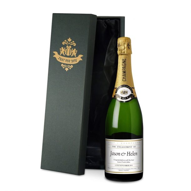 Personalised Engagement Champagne & Silk Lined Box